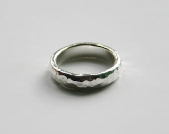 Hammered Silver Ring / Nickel Free Silver Plated / Ladies beaten ring / Made in England