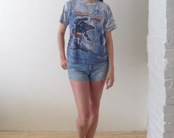 SHARKMAN vintage 90's maui and sons surfer t relaxed fit surfer t 90's grunge blue t shirt distressed thundersharksize med all over print