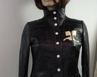 Black jacket Courrèges vintage iconic late sixties model 24500 Paris made in France size has polyurethane