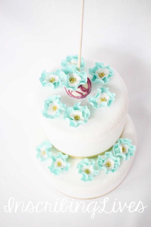 teal mini fondant flowers cake pop toppers cake pops decorations ...