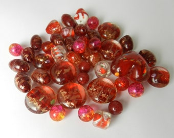 Red Glass Beads Assorted Destash  Loose Red Beads 40 beads