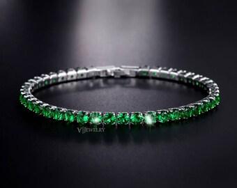 Emerald Tennis Bracelet - Bridesmaid Bracelet - Wedding Bracelet - Crystal Bracelet - Dainty Bracelet -Bridal Bracelet - Bride-Green-AB0097B