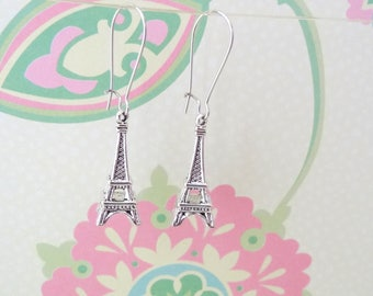 Silver Eiffel Tower Charm Earrings with Fish or Kidney Hook - Ready to Ship