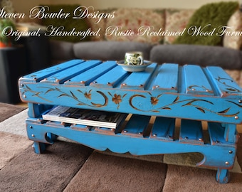 Rustic Reclaimed Wood Coffee Table Mediterranean Blue with Decorative Carved Pattern Bronze Tacks & Under Shelf Storage Handmade to Order