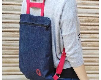 Denim Backpack, basic backpack, denim and red bag, light backpack, fabric backpack, handmade, made in spain, backpack with zipper