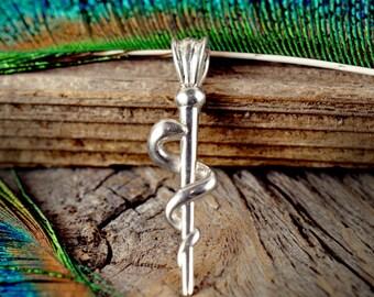 Staff of Asklepios ~ Sterling Silver Pendant ~ Asclepius Healing Medicine Doctors EMT ~ Serpent Snake