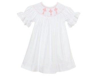 Smocked Cross Bishop Dress - White with pink crosses