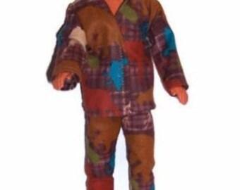 His Fashion Doll Clothes-Moose/Bear Print Flannel Pajamas