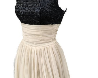 1950's Black Sequin Prom Dress with Full Ivory Tulle Silk Skirt - Vintage Formal Wear