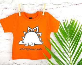 Dinosaur T-Shirt| Orange Dinosaur T-Shirt| Dino T Shirt|Stegosaurus| Stegosaurus T Shirt|Dino T-Shirt| Orange T-Shirt| Ethical T-Shirt