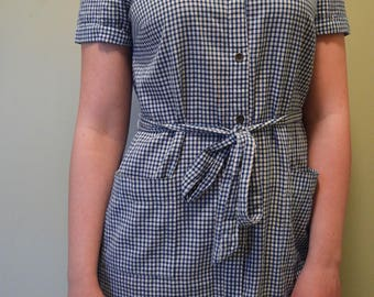 Small Checkered Button-Up Dress