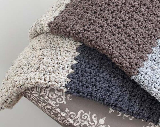 PDF Crochet Pattern - Striped Neutral Blanket