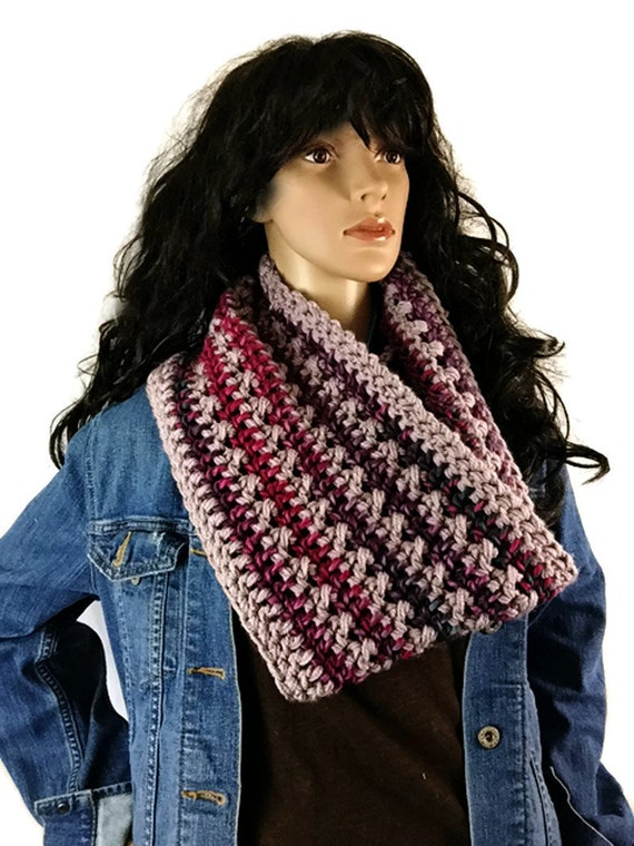 Outlander Scottish Flowers in the Snow Cowl Claire Scarf - Lavender, Pink, Teal Crocheted Neckwarmer CS16