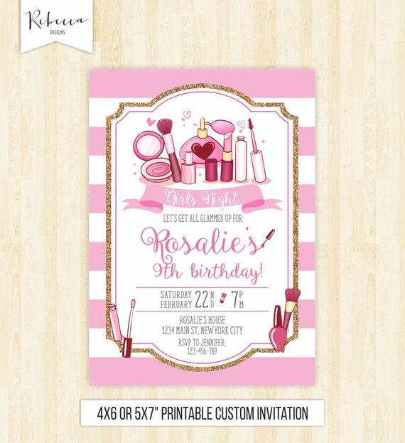 spa party invitation make up invitation fashion birthday party