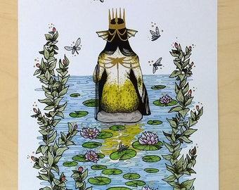 Mermaid Queen Art Print wit golden ink