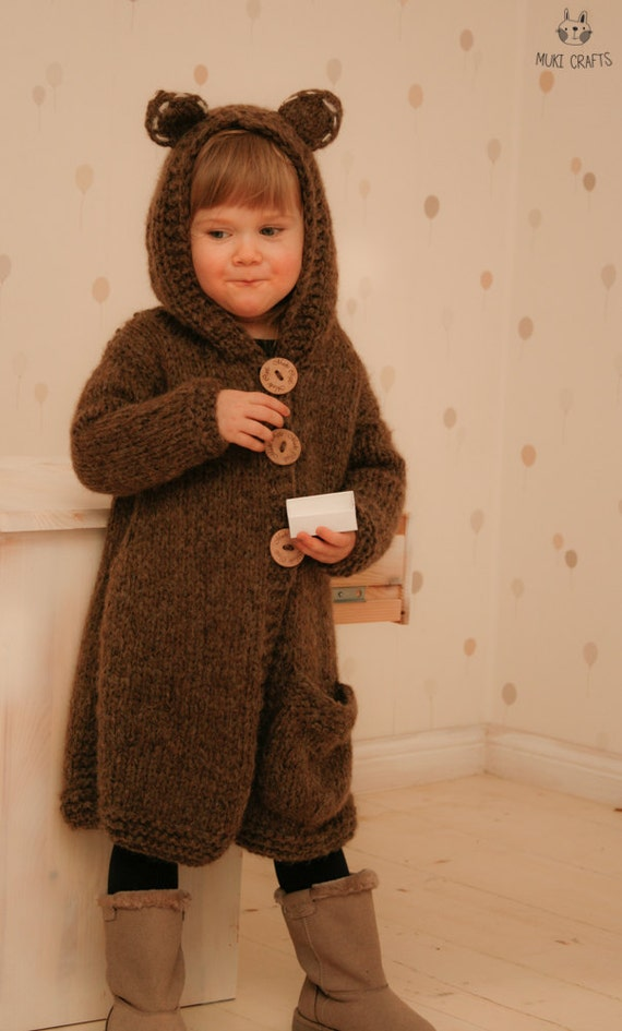 Knitting Pattern Cardigan 4 Year Old : KNITTING PATTERN chunky bear cardigan or vest with hood Skylar (2-3/4-5/6-7/8...
