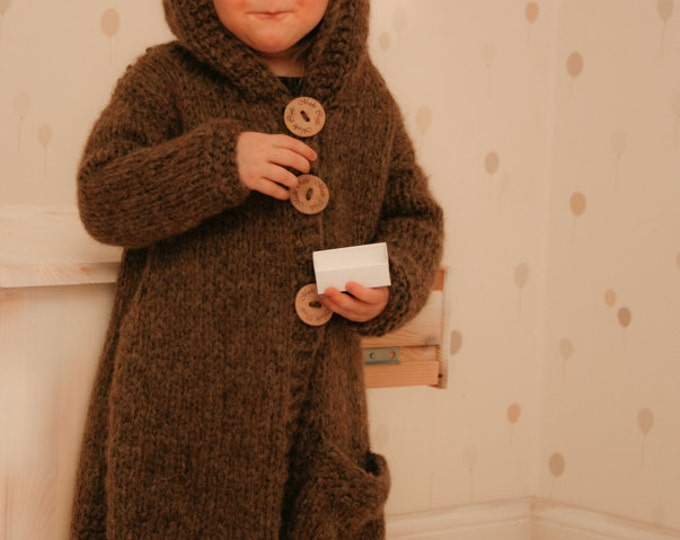 KNITTING PATTERN chunky bear cardigan or vest with hood Skylar (2-3/4-5/6-7/8-10 year old sizes)