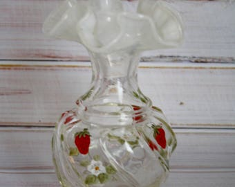 Fenton Opalescent  White Hand Painted Strawberry Wavecrest Vase - Signed N Roberts