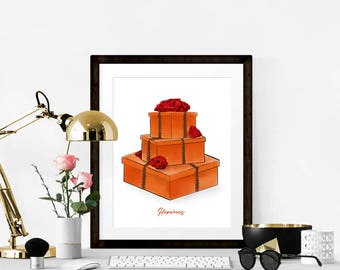 Fashion Print. Hermes Print. Hermes Box. Hermes Bag. Fashion Illustration. Modern Home Décor.