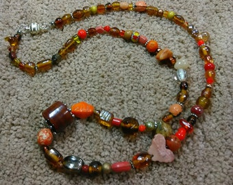 Boho necklace of gemstone multicolors and shapes