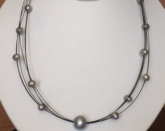 Gray Pearl Necklace- Silver Grey Pearls Necklace- Floating Pearl Necklace- Gray Freshwater Pearls.