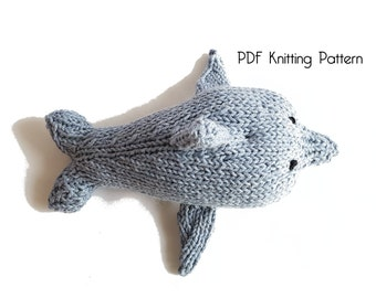 Knitted Dolphin, PDF Pattern, Knitting Pattern, DIY, Amigurumi, Knitted Dolphin, Stuffed Animal, Stuffed toy, Hand Knit Toy, gift