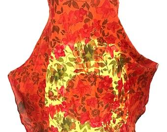 Women 100% cotton floral printed boho bohemian summer spring mini midi dress kurti kurta tunic dress top sz Medium orange color sleeveless.