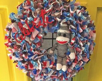 Sock Monkey Wreath