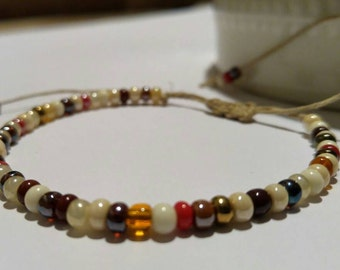 Hemp Bracelet Beaded Handmade, Beaded Bracelet, Hemp Anklet, Hemp Jewelry, Unique, Multicolor, Hemp, Bracelet, Jewelry.