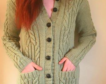 Womens Hand Knit Pure Wool Long Line Cardigan-Hand Knitted Long Cardigan-Long Hand Knit Coat-Womens Hand Knitted Cardigan-Womens Knitwear.