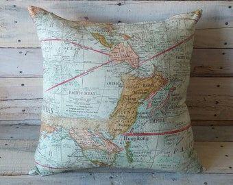 World Map Pillow Cover, Accent Pillow, Throw Pillow, Couch Cushion, Travel, Geography, Childs Room Decor, Decorative Pillow