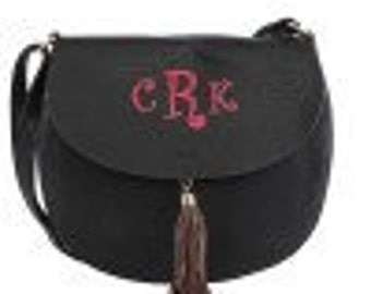 Monogrammed Fashion Crossbody, Black