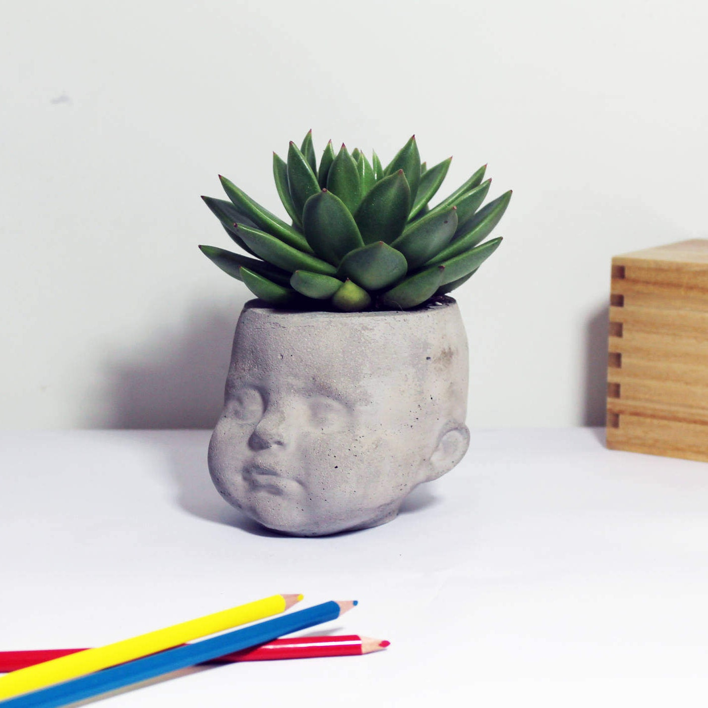 Pot Head Planters: Large Concrete Dolls Head Planter Desk Organizer