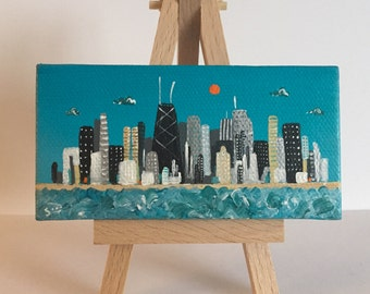 Chicago skyline,  mini painting, on easel, hand painted, ooak, 2x4, choice of easel color, Smigielski original, architecture,