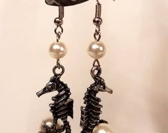 Seahorse Earrings with White Pearls, fishook french hook hypo allergenic earrings gift for her handmade jewellery glass pearl white starfish