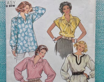 1990s Simplicity 9872 EASY Sewing Pattern Ladies Misses Blouse Top Tunic Cap Sleeves Yoke Scarf Size Small Medium Bust 30-31-32-34-36-38