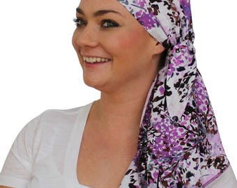Jessica Pre-Tied Head Scarf - Women's Cancer Headwear, Chemo Scarf, Alopecia Hat, Head Wrap, Head Cover for Hair Loss - Purple Heather