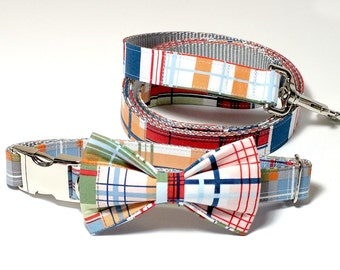 Coastal Plaid Collar, bow tie and Leash Set, Wedding Set, pet bow tie, collar bow tie, wedding bow tie