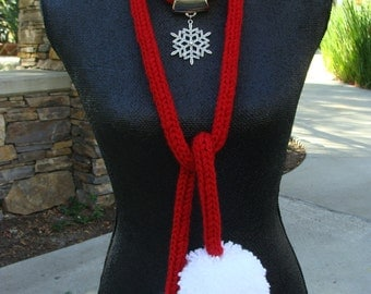 I-Cord Snowflake Scarf Necklace With Pom-poms, Christmas necklace, I-Cord Scarf, Even Cuter in Person!!!