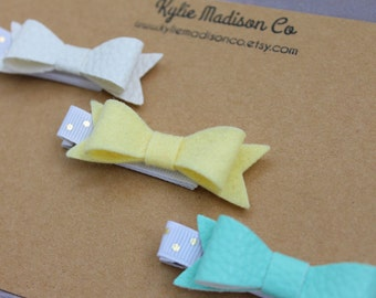 yellow and aqua petite hair bow clip (set of 3), baby hair clips