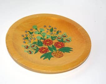 Polish Wood Folk Plate Wooden Plate Vintage Ornament Wood Wall Plate Flowers Decorative plate Hand painted Polish folk art Cottage chic