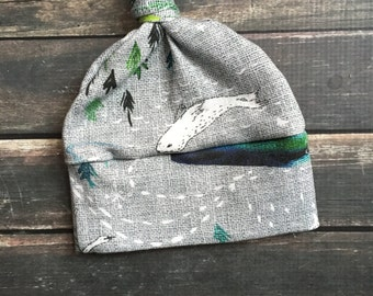 Organic Knot Hat - Northern Lights- top knot hat, natural baby clothes, hospital take home, preemie knot hat, woodland, hospital going home,