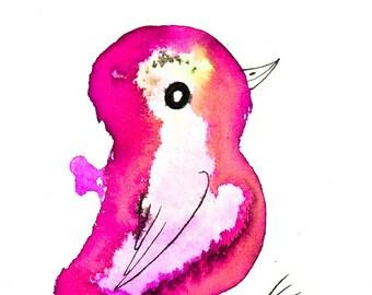 Custom baby gift, personalized baby art, unique baby gift, baby girl, pink bird, nursery decor