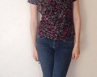 retro floral shirt, 90s floral shirt, floral turtleneck, 90s sheer shirt, hipster floral shirt, floral grunge shirt, 90s floral