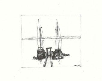 Sailboats at the Olga Dock (original)