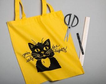 Black Cat Bag, Screen Printed Shopping Bag, Tote bag, Record Bag