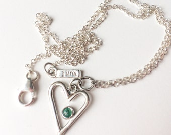 Emerald heart necklace- Gift for mum- Gemstone necklace- Emerald necklace- Sterling silver necklace- Ethical jewellery- Gift for friend