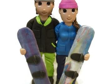 Custom Snowboarding Wedding Cake Topper Couple