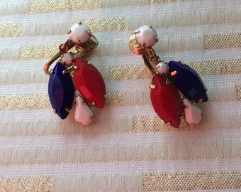 Red White Blue Matte Clip on Earrings Patriotic