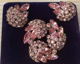 Sherman Pink Swarovski Crystal Demi Parure Clip on Earrings and Brooch
